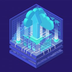 Cloud transformation concept with symbol of floating cloud and upload arrow as isometric 3d vector illustration